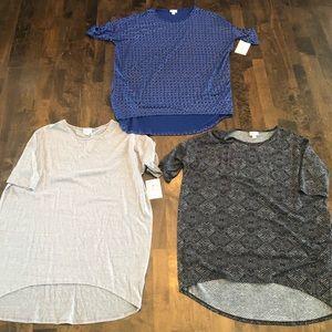 LuLaRoe Lot Of 3 Irma Short Sleeved Shirts SZ M